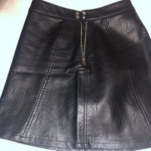Zara Black Faux Leather Skirt